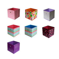 Home Storage Bin Household Organizer Fabric Cube Bins Foldable Basket Container