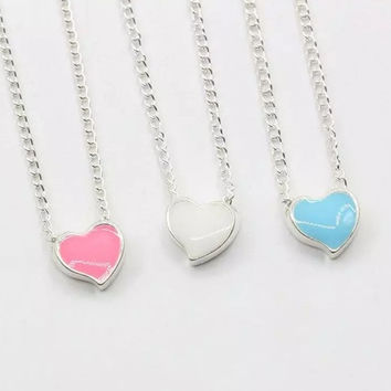Tiny Enamel Heart Pendant Necklace ~3 Color Choices