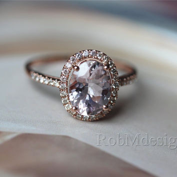 Classic Oval Cut 7*9mm Morganite and Diamond Ring 14k Rose Gold Engagement Ring Wedding Ring Gemstone Engagement Ring