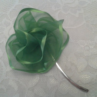 Green Ribbon Flower Small Silver Bookmark