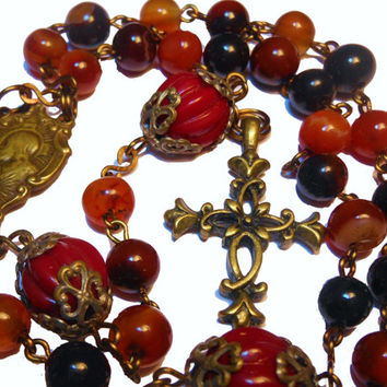 "Agate Rosary ""Vintage Mystery' Red and Black Agate, vintage Our Father beads and St. Theresa and Sacred Heart centerpiece, filigree cross"