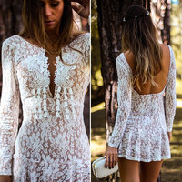 Deep Plug V Neck Long Sleeve Lace Embroidered Mini Dress