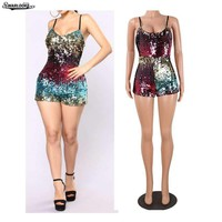 Womens Bling Sequins Playsuit Suspenders Beads Zipper One Piece Pants