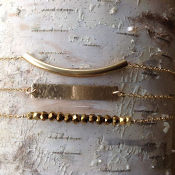 Set of 3 gold filled bracelets/ gold bar/ gold tube / personalized bracelet / dainty / unique