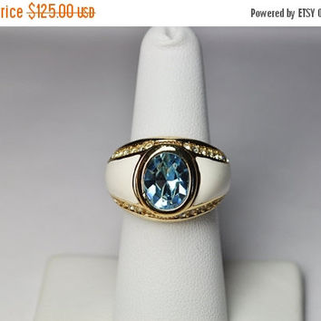 ON SALE Vintage CHRISTIAN Dior Gold, Blue Stone & White Enamel Ring, Glass, Rhinestone, Adjustable Ring, Approx Size 6 - 7, Rare! #b046