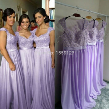 Fashionable 2016 Beach Light Purple Wedding Party Dresses Sheer Back With Applique Lavender Long Bridesmaid Dresses Cheap
