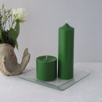 Forest green soy candles, soy pillar candles, green pillar candles, scented ecofriendly candles, Christmas green soy candles