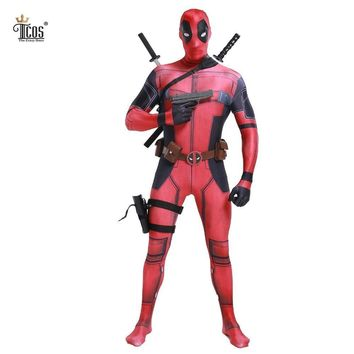 Deadpool Dead pool Taco  Cosplay Costume Man Marvel -Costumes Adult Wade Wilson Spandex Lycra Nylon Zentai bodysuit Second Skin Tight AT_70_6