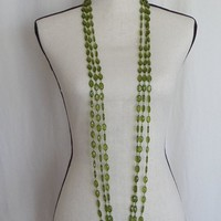 Green Multi Strand Beaded Necklace, Oval Faceted Beads, Extra Long Vintage Three Strand Opera Length, 54 inch