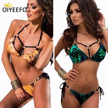 Oiyeefo Big Chameleon Shiny Sequins Bikini Push Up Swimsuit Bright Gold Paillette Bathing Suits Women Beach Bather MAY Plavky XL