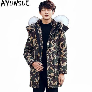 AYUNSUE Fashion Warm White Duck Down Jacket Men Real Wool Fur Collar Mens Parkas Thick Winter Coat Female Hooded Jackets WXF419