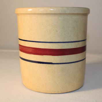 Robinson Ransbottom 1 Quart Stoneware Crock, Roseville Pottery Jar, Earthenware Crock