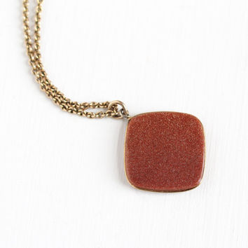 Antique Victorian Goldstone Fob Pendant Necklace - Edwardian 1910s Double Sided 14k Gold Filled Aventurine Glass Brown Sepia Stone Jewelry