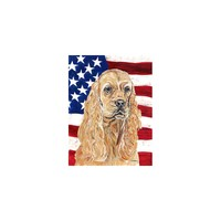 Caroline's Treasures Cocker Spaniel Buff USA American Flag House Flag