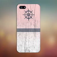 Navy Blue Anchor x Striped Pink Wood Design Case for iPhone 6 6 Plus iPhone 5 5s 5c iPhone 4 4s Samsung Galaxy s6 s5 s4 & s3 and Note 4 3 2