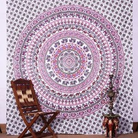 Indian White Elephant Mandala Tapestry , Indian Hippie Wall Hanging , Bohemian Wall Hanging, Bedspread Beach Coverlet Throw...