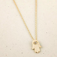 Hamsa hand necklace in gold or silver, simple, everyday, nautical necklace