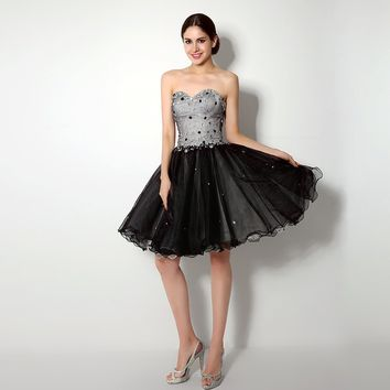Sequins Crystal Beaded Sweetheart Dresses Lace-up Back Knee length Ruffles Ball Gown Dress
