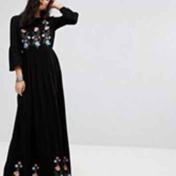 Vero Moda Embroidered Maxi Dress at asos.com