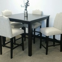 5 pc Hampton collection espresso finish wood counter height dining table set
