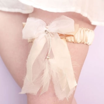 Champagne silk bridal garter with feathers