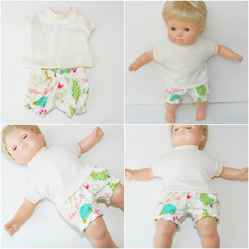 Doll Clothes, Handmade for the 15 inch bitty baby, Animal Print Shorts Pjs