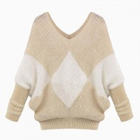 Mohair Jumper In Khaki Checker - Choies.com