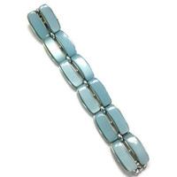 1950s 1960s Bracelet, Signed Lisner Pale Blue Moonglow Thermoset Lucite Bracelet
