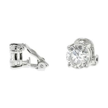 CZ by Kenneth Jay Lane Plated 4.0 cttw Cubic Zirconia Round Clip-On Stud Earrings