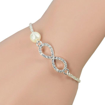Crystal Infinity Bracelet with Pearl Perfect for Valentine's Day!
