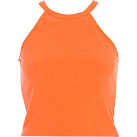 River Island Womens Orange high neck ribbed crop top