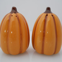 Pumpkin Porcelain Salt & Pepper Shakers Halloween Decor c 1970s Estate Find