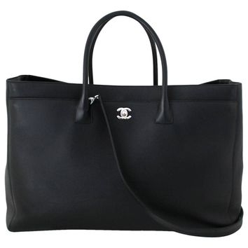 Chanel Black Leather Cerf Tote- XL with Silver HW