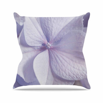 "Suzanne Harford ""Pastel Purple Hydrangea Flower"" Floral Lavender Throw Pillow"