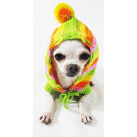 Dog Hoodie Rasta Colorful Pet Clothing Casual Puppy Clothes Cotton Chihuahua Sweater Handmade Crochet DK971 Myknitt - Free Shipping
