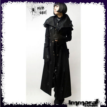 PUNK RAVE GOTHIC PRIEST TRENCH COAT - PUNK/GOTHIC/BLACK/JACKET - UNISEX