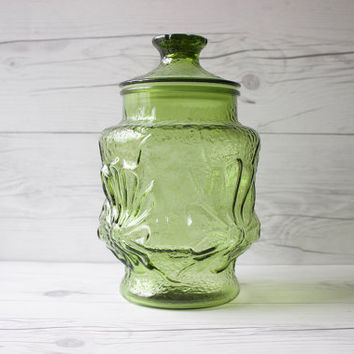 Vintage Anchor Hocking Avocado Green Rainflower Glass Canister Apothecary Jar | Made in the USA