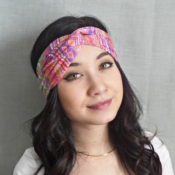 Turban Headband , Jersey Headband, Tribal Print, Pink Bohemian Hair Accessories Colorful Headband