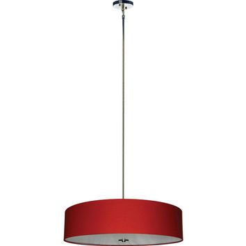 Yosemite Home Decor SH3007-5P-CPRS Lyell Forks Satin Steel Five Light Drum Pendant with Chili Pepper Red Shade