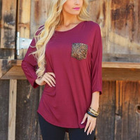 Sequine Pocket Loose Sweater Shirt B0013789