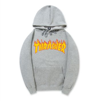 """""""Thrasher""""New flame thickening hoodies sweater no line Grey"""