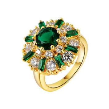 Empress of Emeralds 2ct Green Austrian Crystal Flower Cocktail Ring