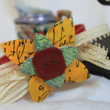 Leather Cuff Bracelet,Vintage lace,jewelry,leather flower,hand-painted,stamped leather, vintage button,adjustable,woman's bracelet, original