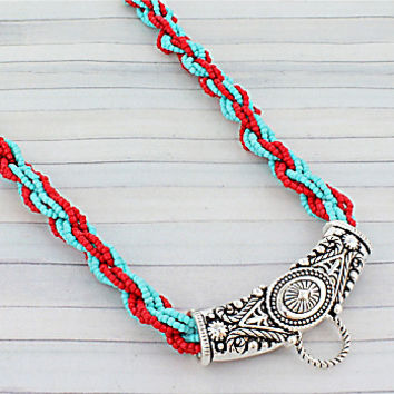 Turquoise and Coral Twisted Seed Bead and Silvertone Western Center Loop Necklace