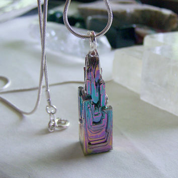 Rainbow Iridescent Bismuth Crystal Tower Pendant