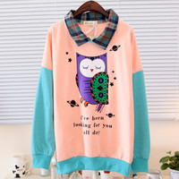 Spring Cute Colorful Owl Print Plaid Collar Long Sleeves Blouse Multiple Colors