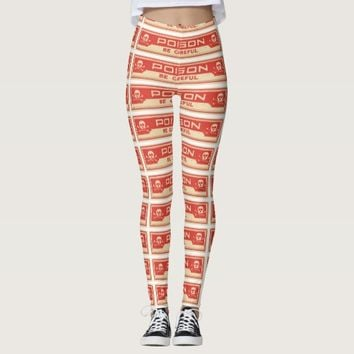 Vintage Skull Crossbones Poison Label Apothecary Leggings