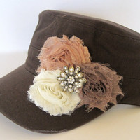 Brown Military Distressed Cadet Army Hat with Mocha Carmel and Ivory Shabby Chiffon Flowers with a Rhinestone Accent