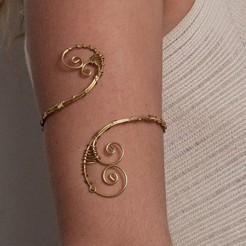 women birthday gifts Brass Arm band Upper Arm bracelet small spirals, Upper arm cuff, armlet, arm cuff,armband, ,adjustable