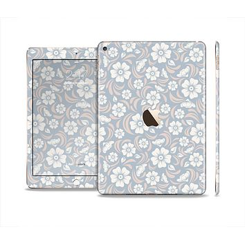 The Subtle White and Blue Floral Laced V32 Skin Set for the Apple iPad Air 2